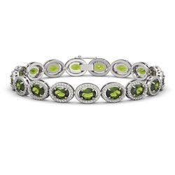 21.71 CTW Tourmaline & Diamond Halo Bracelet 10K White Gold - REF-338H9A - 40622