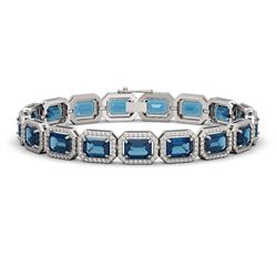 25.36 CTW London Topaz & Diamond Halo Bracelet 10K White Gold - REF-313M3H - 41414