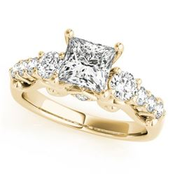 1.5 CTW Certified VS/SI Diamond 3 Stone Princess Cut Ring 18K Yellow Gold - REF-292M5H - 27995