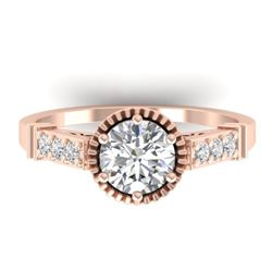 1.22 CTW Certified VS/SI Diamond Solitaire Art Deco Ring 14K Rose Gold - REF-347W8F - 30535