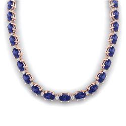 46.5 CTW Tanzanite & VS/SI Certified Diamond Eternity Necklace 10K Rose Gold - REF-439Y5K - 29436