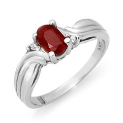 0.85 CTW Ruby & Diamond Ring 18K White Gold - REF-34K4W - 12515