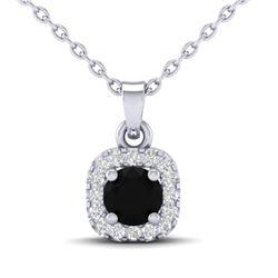 0.47 CTW Micro Pave VS/SI Diamond Heart Necklace Designer Halo 18K White Gold - REF-34A4X - 21303