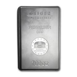 One piece 100 oz 0.999 Fine Silver Bar Geiger Security Line Series-83341