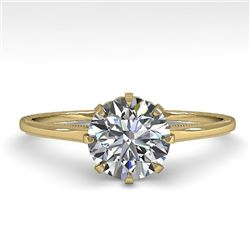 1.0 CTW Certified VS/SI Diamond Engagement Ring 18K Yellow Gold - REF-283F4N - 35740