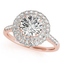 1.5 CTW Certified VS/SI Diamond Solitaire Halo Ring 18K Rose Gold - REF-229T5M - 26453