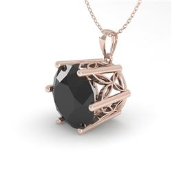 2 CTW Black Certified Diamond Solitaire Necklace 18K Rose Gold - REF-65A5X - 35876