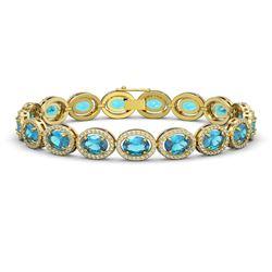 24.32 CTW Swiss Topaz & Diamond Halo Bracelet 10K Yellow Gold - REF-252X8T - 40636
