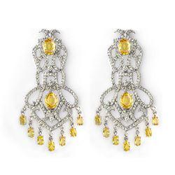 17.30 CTW Yellow Sapphire & Diamond Earrings 18K White Gold - REF-564W5F - 11101