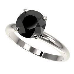 2.59 CTW Fancy Black VS Diamond Solitaire Engagement Ring 10K White Gold - REF-64Y8K - 36455