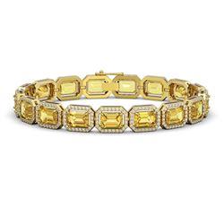 23.74 CTW Fancy Citrine & Diamond Halo Bracelet 10K Yellow Gold - REF-303M8H - 41422