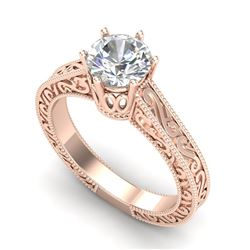 1 CTW VS/SI Diamond Solitaire Art Deco Ring 18K Rose Gold - REF-330W2F - 36927