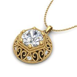 1.11 CTW VS/SI Diamond Solitaire Art Deco Necklace 18K Yellow Gold - REF-298Y2K - 36925