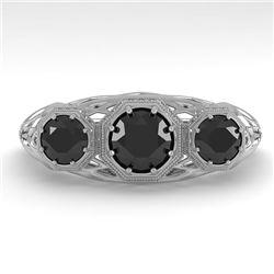 1.00 CTW Past Present Future Black Diamond Ring 18K White Gold - REF-81M3H - 36060