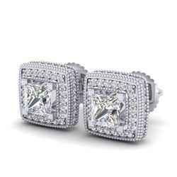 2.01 CTW Princess VS/SI Diamond Solitaire Art Deco Earrings 18K White Gold - REF-245T5M - 37127