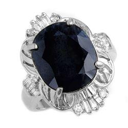 8.51 CTW Blue Sapphire & Diamond Ring 18K White Gold - REF-109N3Y - 13229