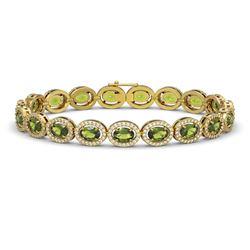 13.87 CTW Tourmaline & Diamond Halo Bracelet 10K Yellow Gold - REF-271T6M - 40474
