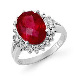 3.56 CTW Rubellite & Diamond Ring 14K White Gold - REF-92H4A - 14050