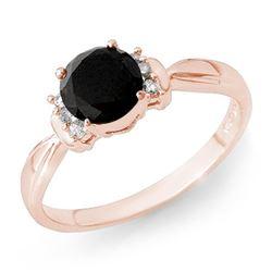 1.10 CTW VS Certified Black & White Diamond Solitaire Ring 14K Rose Gold - REF-41N5Y - 13943