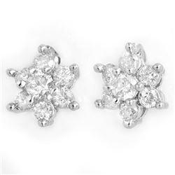 0.50 CTW Certified VS/SI Diamond Earrings 18K White Gold - REF-43T3M - 13583