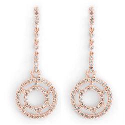 1.0 CTW Certified VS/SI Diamond Earrings 14K Rose Gold - REF-109A3X - 10303