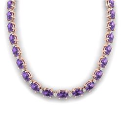 61.85 CTW Amethyst & VS/SI Certified Diamond Eternity Necklace 10K Rose Gold - REF-275A8X - 29498