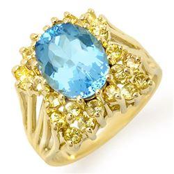 6.0 CTW Yellow Sapphire & Blue Topaz Ring 10K Yellow Gold - REF-53K3W - 11773