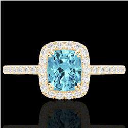 1.25 CTW Sky Blue Topaz & Micro Pave VS/SI Diamond Halo Ring 10K Yellow Gold - REF-34H5A - 22914