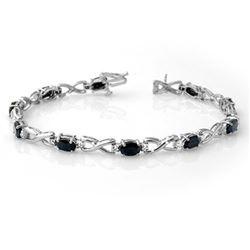 7.0 CTW Blue Sapphire & Diamond Bracelet 14K White Gold - REF-72X4T - 13599