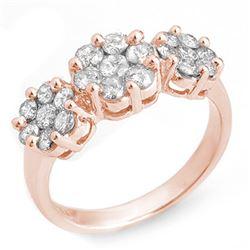 1.25 CTW Certified VS/SI Diamond Ring 14K Rose Gold - REF-92H8A - 10211