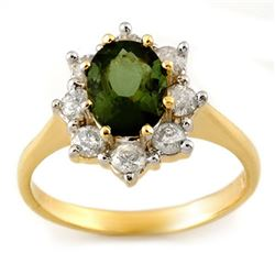 2.50 CTW Green Tourmaline & Diamond Ring 14K Yellow Gold - REF-74T5M - 11108