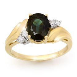 1.67 CTW Blue Sapphire & Diamond Ring 10K Yellow Gold - REF-21X3T - 13011