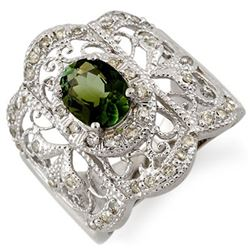 2.15 CTW Green Tourmaline & Diamond Ring 10K White Gold - REF-70T9M - 11164