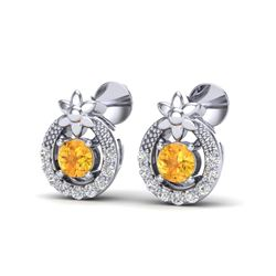 0.40 CTW Citrine & Micro Pave VS/SI Diamond Halo Solitaire Earrings 18K White Gold - REF-23T3M - 200