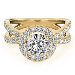1.51 CTW Certified VS/SI Diamond Solitaire Halo Ring 18K Yellow Gold - REF-176T5M - 26765
