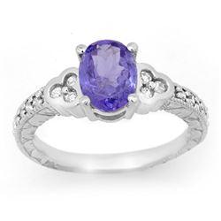 2.42 CTW Tanzanite & Diamond Ring 18K White Gold - REF-76W2F - 14254