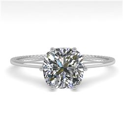 1.0 CTW VS/SI Cushion Diamond Solitaire Engagement Ring Size 7 18K White Gold - REF-287Y4K - 35898