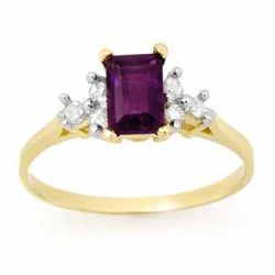 1.14 CTW Amethyst & Diamond Ring 10K Yellow Gold - REF-15M5H - 13351