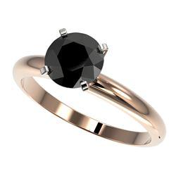 1.50 CTW Fancy Black VS Diamond Solitaire Engagement Ring 10K Rose Gold - REF-47M3H - 32926