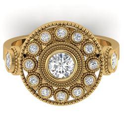 0.85 CTW Certified VS/SI Diamond Art Deco 3 Stone Ring 14K Yellow Gold - REF-118F2N - 30473