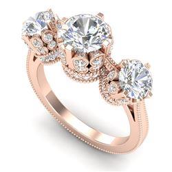 3.06 CTW VS/SI Diamond Solitaire Art Deco 3 Stone Ring 18K Rose Gold - REF-576K4W - 36849