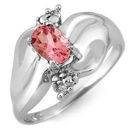 0.54 CTW Pink Tourmaline & Diamond Ring 18K White Gold - REF-48X2T - 11259