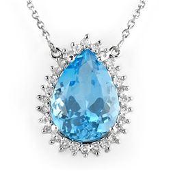 13.75 CTW Blue Topaz & Diamond Necklace 14K White Gold - REF-105M5H - 10230