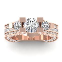 5.5 CTW Certified VS/SI Diamond Art Deco 3 Stone Micro Ring 14K Rose Gold - REF-638A9X - 30295