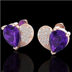 2.50 CTW Amethyst & Micro Pave VS/SI Diamond Earrings 10K Rose Gold - REF-30N2Y - 20063