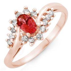 0.50 CTW Pink Tourmaline & Diamond Ring 14K Rose Gold - REF-31Y3K - 10400