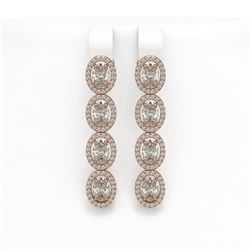 6.08 CTW Oval Diamond Designer Earrings 18K Rose Gold - REF-1132T4M - 42711