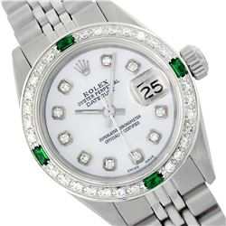 Rolex Ladies Stainless Steel, Diam Dial & Diam/Emerald Bezel, Sapphire Crystal - REF-426F4M