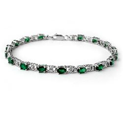 5.02 CTW Emerald & Diamond Bracelet 14K White Gold - REF-52A4X - 14061
