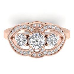 1.5 CTW Certified VS/SI Diamond Art Deco 3 Stone Ring 14K Rose Gold - REF-169N3Y - 30520